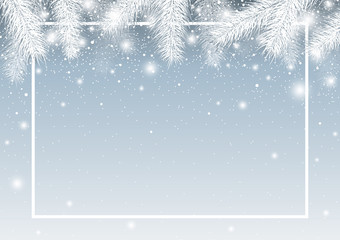 Vector christmas background of pine leaves with snow in winter