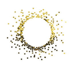 Circle gold star decoration christmas happy new year isolated on white background with empty copy space object design on top view