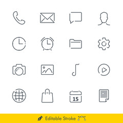 Phone Media Icons / Vectors Set - In Line / Stroke Design With Editable Stroke
