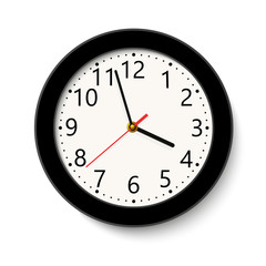 Classic black round wall clock isolated on white . Vector illustration