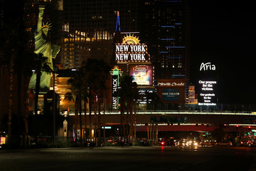 Las Vegas Boulevard lights-up with with signs for the victims and first responders after a mass shooing at the Route 91 Harvest Country Music Festival in Las Vegas, Nevada