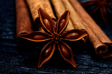 anise with cinnamon on table