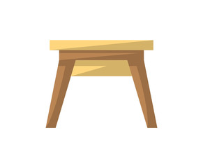 Wooden stool isolated icon in flat style