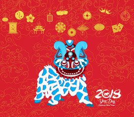 Oriental Happy Chinese New Year 2018. lion dance Design. Year of the dog