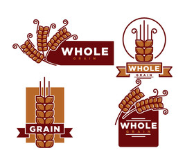 Whole grain product emblem vector illustrations set