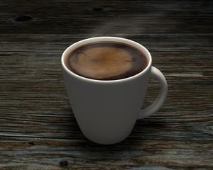The white mug of black brewed coffee on wooden table. 3D render.