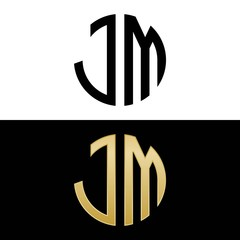 jm initial logo circle shape vector black and gold
