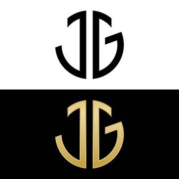 jg initial logo circle shape vector black and gold