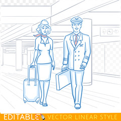 Pilot and stewardess. Crew of a civil aircraft in the airport. Editable sketch in blue ink style. Hand drawn doodle vector illustration.