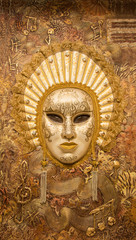 The mask on the wall. decorative background