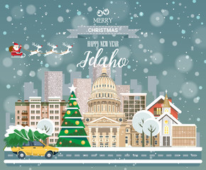 Christmas greeting card. Poster in flat style. Merry Christmas and Happy New Year, Idaho