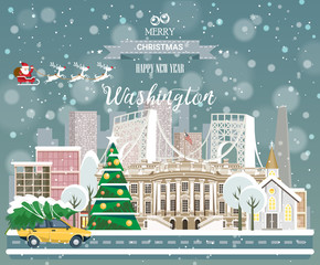 Christmas greeting card. Poster in flat style. Merry Christmas and Happy New Year, Washington