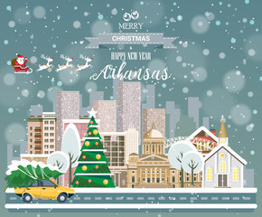 Christmas greeting card. Poster in flat style. Merry Christmas and Happy New Year, Arkansas