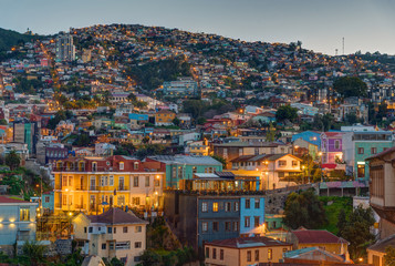 View over one of the hills of Valparaiso in Chile at dusk