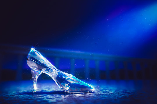 3D image of Cinderella's glass slipper on the floor