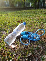 Mineral Water Bottle and Skipping Rope
