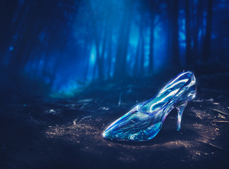 Cinderella's glass slipper in a forest - 3D illustration