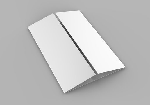 Single open gate fold brochure, 3 panel and six pages leaflet. blank white 3d render illustration.
