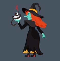 Red-haired  witch in black dress and cloak. Evil cartoon witch. Vector illustration.