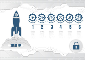 Rocket launch Startup, Digital technology and infographic business concept. vector illustration
