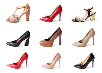Collage of different high heels shoes isolated on white background