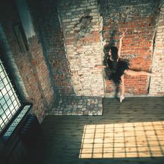 Ballerina dancing indoor, vintage. Healthy lifestyle ballet