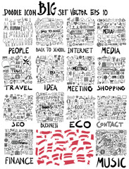 MEGA set of doodles. Super collection of people ,Business and finance, Social media shopping elements, Info, Internet, Creative, Seo, Travel, Banner ribbon, Music, Meeting, Contact, Eco doodle set