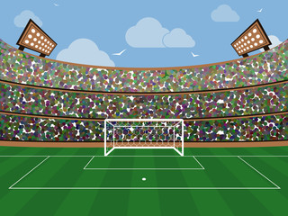 Sport stadium with soccer goal net, green grass, tribunes, fans and blue sky with cloud. Football arena. Flat style vector banner.