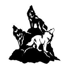 Three wolves on a hill howling, Silhouette on a white background.