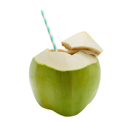Coconut water with straw on white isolated background with clipping path.