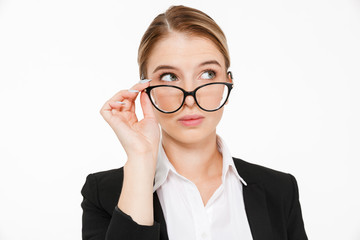 Close up picture of beauty blonde business woman in eyeglasses