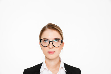 Close up image of carefree blonde business woman in eyeglasses