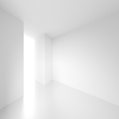 3d Illustration of White Interior Design. Empty Room with Door. Abstract Architecture Background