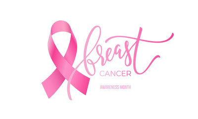 Breast cancer awareness month symbol emblem with vector pink ribbon sign on white background.