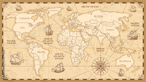 Fotomurales Vector antique world map with countries boundaries