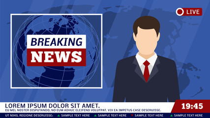 TV news studio with broadcaster and breaking world background vector illustration
