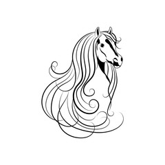 Vector illustration of Horse head in black and white style.
