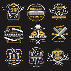 Old barbershop vector emblems and labels. Vintage male haircut signs