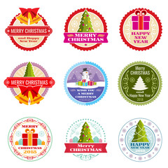Vintage christmas gift vector labels, banners and tags with typographic elements