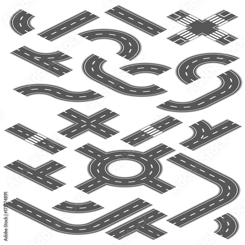 Isometric Road And Highway Vector Elements For City Map Creation