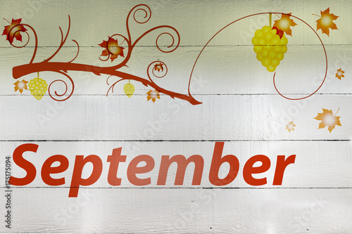Hand Painted Wood Panel Month Of September Theme Stock Photo And