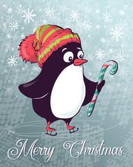 Vector Christmas postcard penguin on skates