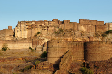 Poster Fortification Majestic citadel of Mehrangarh on the hill near Jodphur city. Rajasthan India