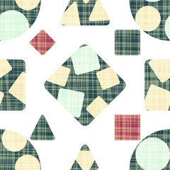 Textiles with geometric shapes. Blue, red and beige.