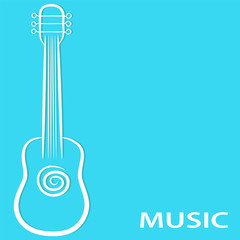Hand draw guitar on blue background for your music poster design, stock vector illustration