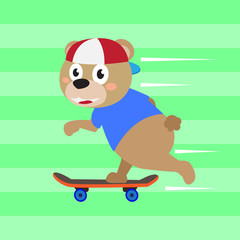 Cute bear skater vector cartoon illustration