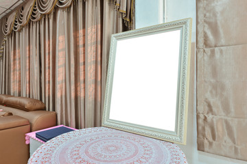 White blank picture frame in bedroom, mock up design