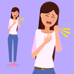 Illustration of a young woman coughing.