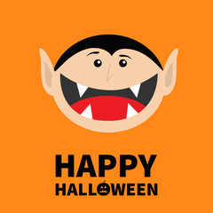 Happy Halloween pumpkin text. Count Dracula head face. Cute cartoon vampire character with fangs. Big mouth tongue. Baby greeting card. Flat design. Orange background. Isolated.