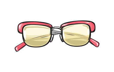 Fashionable Glasses with Coral Frame Illustration